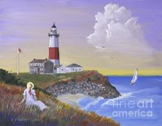 """""""Montauk Lighthouse"""", a painting by Jerry McElroy. The Montauk Point Light is a lighthouse located in Montauk Point State Park at the easternmost point of Long Island, in the hamlet of Montauk in the Town of East Hampton in Suffolk County, New York. If you are interested in purchasing the original, go to jerrymcelroy.com"""