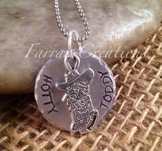 Hotty Toddy Hand Stamped Necklace - Ole Miss, University of MIssissippi, Graduation on Etsy, $27.00