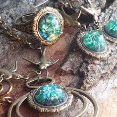 #LandOfOzJewelrySet, #EmeraldCity4PieceJewelrySetSale, #AnniversaryGift, #Prom, #BirthdayGift, #MothersDayGifts Emerald City Set Necklace,Earrings & Ring carried by Birds Land of Oz Huge Sale #ArtistiqueJewelry