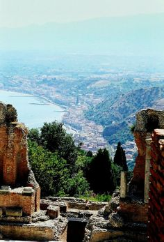 Taormina, Sicily. View from the ruins of the Roman theatre.