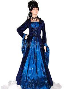 b73bf07976 Frente Halloween Renacimiento vestido poliéster medieval azul encaje hasta  Traje Cosplay
