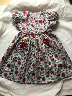 Christmas Birds Dress with a Pocket Kitty Little Girl Dresses, Girls Dresses, Xmas Dresses, Summer Dresses, Christmas Dresses, Blue Rose Bouquet, Bird Dress, Afghan Dresses, Christmas Bird