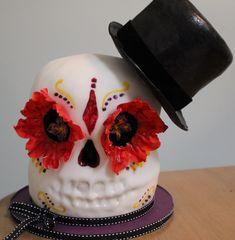 Dia de los Muertos #ChocolateCakeSkull www.BakersCottageCakes.com https://www.facebook.com/BakesCottageCakes?ref=hl