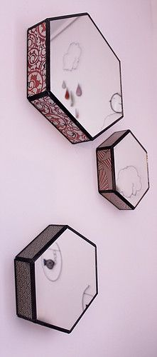Miroir hexagone Stained Glass Mirror, Mirror Mirror, Tiffany, Japanese Paper, Hexagons, Mirror