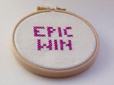 EPIC WIN cross-stitched hoop art framed in hoop by Hextrovert,