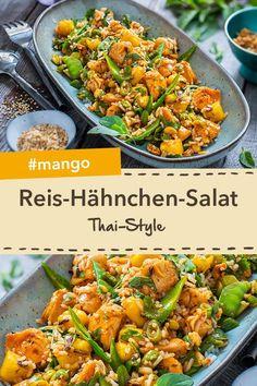 Exotisch fruchtig: Reis-Hähnchensalat Thai-Style mit Mango und knackigen Erdnüssen. #wochenmarkt #salat #mango #hähnchen #thailändisch Mango, Thai Style, Paella, Curry, Food And Drink, Meals, Ethnic Recipes, Thailand, Clean Eating