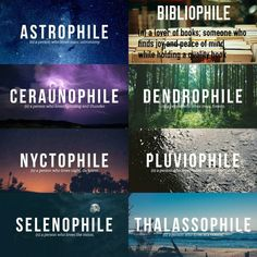 bibliophile, pluviophile, and astrophile image