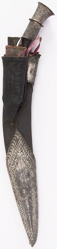 Indian or Nepalese kukri, 19th century, steel, silver, wood, leather, Knife (a)…