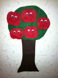 apple felt songs: Way up high in the apple tree, five red apples smiled at me. I shook that tree as hard as I could, down came an apple and Mmmmm, was it good! I thought this was really cute.