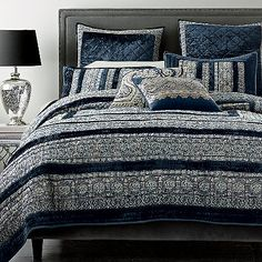 Blue Moon Handmade Quilt & Shams | Cotton suzani florals are framed with sumptuous navy velvet. The Company Store