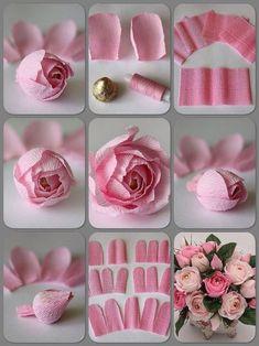 Paper Flowers Wedding, Tissue Paper Flowers, Paper Flower Backdrop, Flower Paper, Handmade Flowers, Diy Flowers, Fabric Flowers, Flowers Vase, Origami Flowers