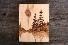 This beautiful lakeside scene has been burnt into a piece of salvaged pine wood with a process known as Pyrography (commonly referred to as wood