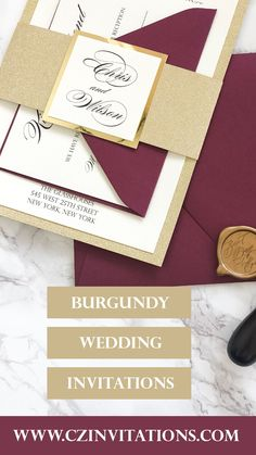 Burgundy and Gold Glitter Invitation! This color match is a classic and is popular among 2020 and 2021 brides! Special touches like the gold glitter and gold mirror paper in addition to the wax seal make this set unique! Glitter invites, Burgundy invites, gold invites, covid wedding invites Burgundy Wedding Invitations, Glitter Invitations, Unique Invitations, Invitation Envelopes, Invitation Design, Invites, Spring Wedding, Garden Wedding, Mirror Paper