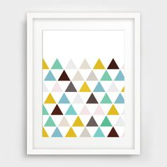 Triangle Print, Geometric Print, Geometric Wall Art, Triangles, Mustard Yellow, Turquoise, Mint Green Printable Artwork on Etsy, $5.00