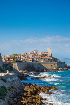 Old town and sea wall in Antibes, Alpes-Maritimes, Provence-Alpes-Cote D'Azur, French Riviera, France