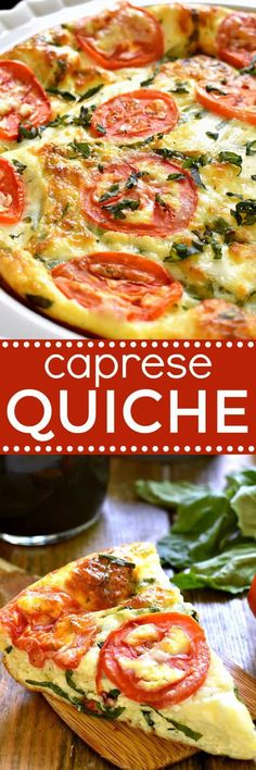Caprese Quiche is the ultimate summer breakfast. Loaded with fresh tomatoes, basil, and mozzarella cheese, it comes together quickly and has all the best flavors of summer. Caprese Quiche makes a great lunch or dinner. Quiches, Vegetarian Recipes, Cooking Recipes, Healthy Recipes, Vegetarian Quiche, Kitchen Recipes, Breakfast Dishes, Breakfast Recipes, Breakfast Quiche