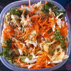 #Raw #Vegan #Salad - kale, cabbage, onion, avocado, apple & carrot. Love the crunch! #healthyoptions #hearthealthy #fitfuel #foodie