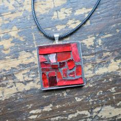 Ruby Red Mosaic Pendant by Margaret Almon of nutmegdesigns on Etsy