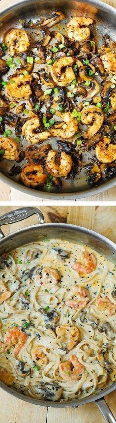 Creamy shrimp and mushroom pasta in a delicious homemade alfredo sauce. (Chicken Breastrecipes Cajun)