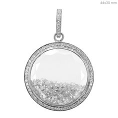 18K White Gold Loose Diamond Shaker Designer Clear Gemstone Pendant Jewelry NEW #Handmade