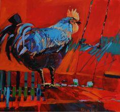 Cockerel 2 Rooster Decor, Chickens And Roosters, Coops, Hens, Creatures, Oil, Contemporary, Painting, Inspiration