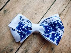 Small BYU double loop Bow | Brigham Young University | Cougars | Blue by ShopSassyBabes on Etsy https://www.etsy.com/listing/248719015/small-byu-double-loop-bow-brigham-young