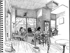inside common grounds by paul heaston - he has a wonderful sense of line Sketchbook Drawings, Drawing Sketches, Perspective Drawing, Moleskine, Urban Sketchers, Sketchbook Inspiration, Marker Art, Amazing Art, Pokemon