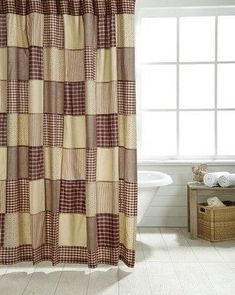 Cheston Shower Curtain  Give your bathroom a quick makeover with our Cheston Shower Curtain. This lovely patchwork block pattern is a great way to add a warm primitive country look to your decor. This #PrimitiveCountryDecorating #PrimitiveBathrooms
