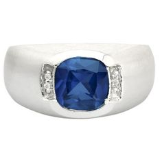 Men's Sterling Silver Antique Cushion Cut Sapphire Diamond Ring Available Exclusively at Gemologica.com