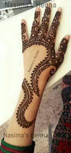 Henna hand leaves