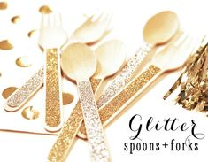 Glitter Spoons - Glitter Forks - Gold Glitter Party Decor - Gold Ice Cream Spoons Gold Candy Buffet Spoons (EB3082) set of 24 utensils