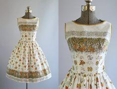 Vintage 1950s vestido años 50 algodón frontera Floral amarillo y naranja y vestida vestido XS de la impresión