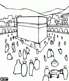 Muslim pilgrims walking around the Kaaba, a cube-shaped building in Makkah, Saudi Arabia coloring page