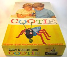 "- Cootie Game - my favorite part to collect  ( and keep from losing) were the antennas and the swirly mouth..seriously...have you ever came across a bug that looked anything like a Cootie!!!...and... in grade school did ya ever get the "" ""cooties"" for holding hands with a boy - Eugh, You've Got Cooties -"
