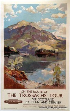edinburgh scotland travel poster   ... Railways TROSSACHS Scotland Merriott Original Vintage Travel Poster