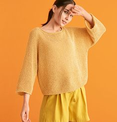 Lana Grossa Design 6 Pullover Kit in Ombra Pullover, Garter Stitch, Spring Summer 2018, Pulls, Knitwear, Knit Crochet, Bell Sleeve Top, Tunic Tops, One Piece