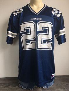 f9e3178f1 EMMITT SMITH JERSEY Dallas Cowboys Champion  22 Vintage Football NFL USA  Size 44
