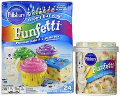 Pillsbury Birthday Funfetti Cake Mix and Vanilla Frosting Bundle with Pudding and Candy Bits in the Mix for Delicious Cakes  Cupcakes -- More info could be found at the image url.(This is an Amazon affiliate link)