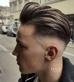 Top 20 Best Men's Hairstyles -Men's Skicked Back Hairstyle Classic Mens Hairstyles, Quiff Hairstyles, Cool Hairstyles For Men, Winter Hairstyles, Haircuts For Men, Hair And Beard Styles, Short Hair Styles, Skin Fade Hairstyle, Pompadour Fade Haircut