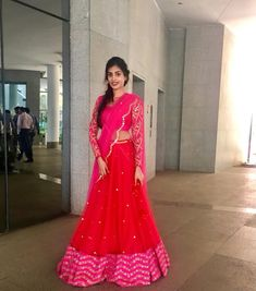 Stunning red color designer lehenga and blouse with blush pink color net dupatta. Blouse with full sleeves. Lehenga and blouse with hand embroidery zardosi work. Half Saree Lehenga, Lehnga Dress, Bridal Lehenga, Kids Lehenga, Sarees, Half Saree Designs, Sari Blouse Designs, Lehenga Designs, Simple Lehenga