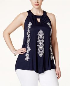 Plus Size Embroidered Halter Top