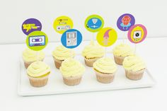 90s cupcake toppers, 90s cake toppers, 90s party decorations