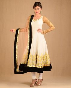 Off White Anarkali Cocktail Suit Set Exclusively.in--kasab anarkali with gota and golden embroidery and black velvet borders, beige net dupatta