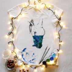 Koszulka ręcznie malowana z koniem, ryby hand painted t-shirt horse watercolor, tattoo, water, sketch, fish, drawing