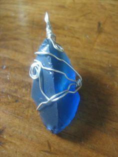 Silver Wire Wrapped Dark Blue Sea Glass