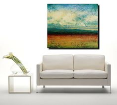 Abstract landscape painting acrylic painting sky blue original