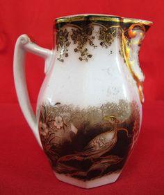 Antique Early 1800's Brown Transferware w Gold Gilt Birds Paradise Creamer Yqz | eBay
