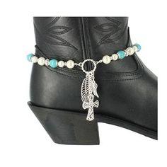 Silver Strike Women's Cross and Wing  Beaded Boot Bracelet