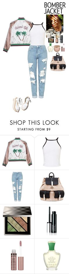 """""""Light Topping: Summer Bomber Jackets"""" by eliza-redkina ❤ liked on Polyvore featuring Miss Selfridge, Topshop, Paloma Barceló, Alisa Smirnova, Burberry, NYX, Creed, tarte and L'Oréal Paris"""