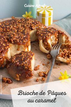 La recette de la brioche de Pâques au caramel #cuisineactuelle #pâques #brioche Caramel, Brunch, Macaron, French Toast, Meat, Breakfast, Pains, Food, Pastries